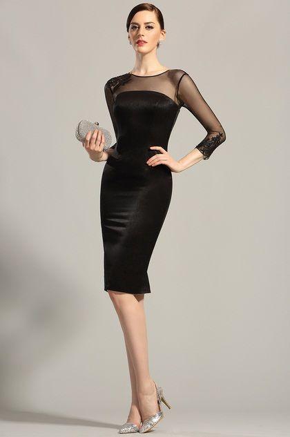 Long Sleeves Sheer Top Little Black Dress Cocktail Dress 26152900