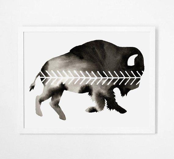 Buffalo grote aquarel Bison origineel schilderij door GeometricInk