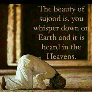 The beauty of sujood is: you whisper down onto earth and it is heard in the Heavens.  #Islam #prayer