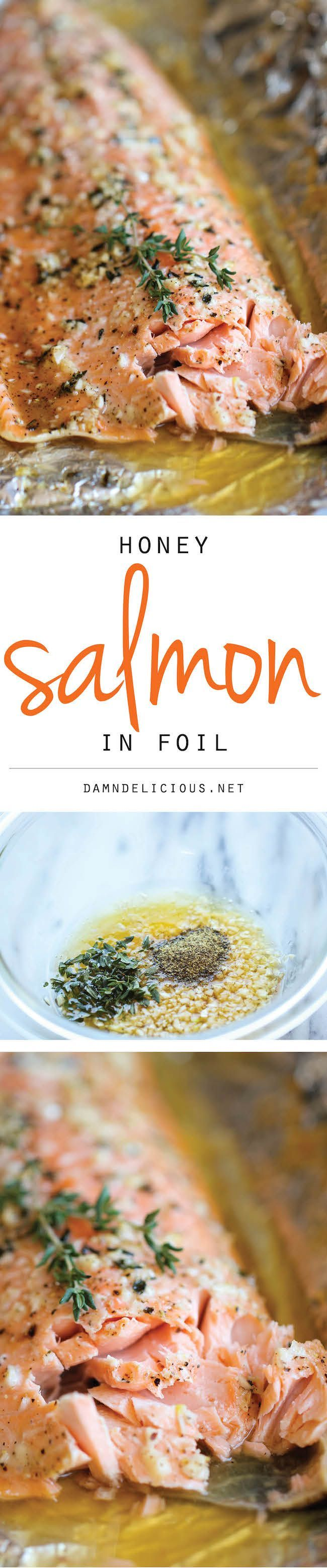 Honey Salmon in Foil - http://healthyworksnack.com/honey-salmon-in-foil/
