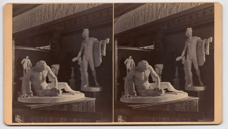 A RARE CLASSIC ICONIC VINTAGE STEREOVIEW STEROGRAPH BY J. L. LOVELL OF THE INTERIOR OF THE AMHERST COLLEGE ART GALLERY IN AMHERST, MASSACHUSETTS.  CIRCA 1860s-1870s.  A FINE STUDY SHOWING SCULPTURES OF THE DYING GLADIATOR AND THE APOLLO BELVEDERE!