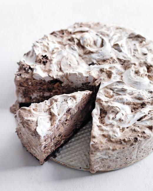 Chocolate Ice Cream Cake with Hazelnuts and Marshmallow Swirl RecipeDesserts, Icecreamcake, Cake Recipe, Marthastewart, Chocolates Ice Cream, Chocolate Ice Cream, Ice Cream Cakes, Marshmallows Swirls, Martha Stewart