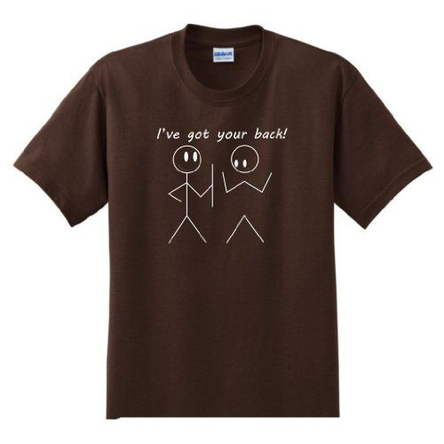 Ive Got Your Back! YOUTH T-Shirt Funny College Humor Joke Gag Stick Figure Youth/Child/Kid Tee Small Dark Chocolate