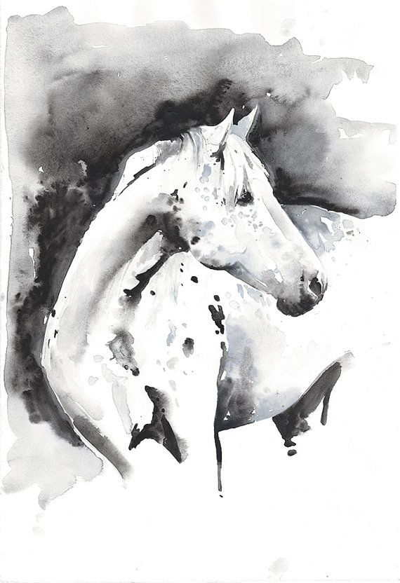 Print of  Watercolour Painting, Horse Painting by Cate Parr, Horse  Illustration. Titled: Ever