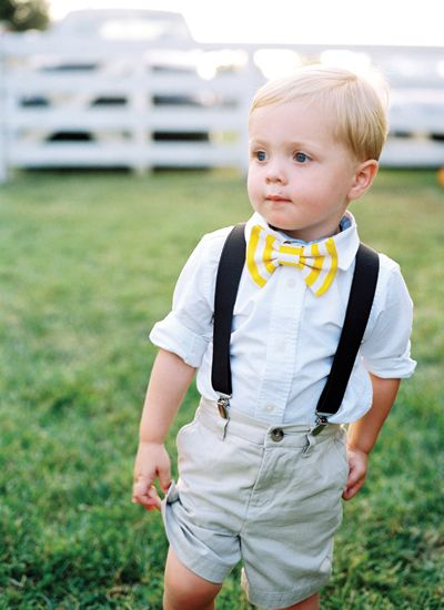 love this little man with his yellow bow tie + suspenders! | Jamie Clayton #wedding