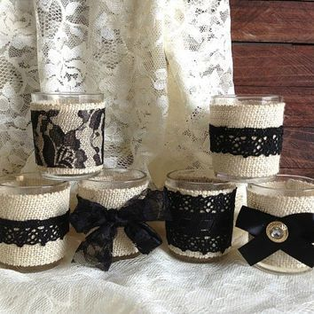black and ivory lave burlap votive tea candles, wedding, bridal shower, baby shower, party candle decoration