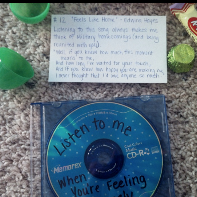 make a mix cd of meaningful songs then write a little note about each song sweet songs for round 3 theme
