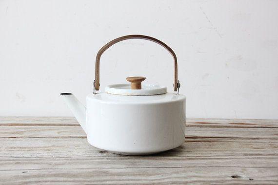 White Copco Enamel Tea Kettle by GallivantingGirls on Etsy, $52.00