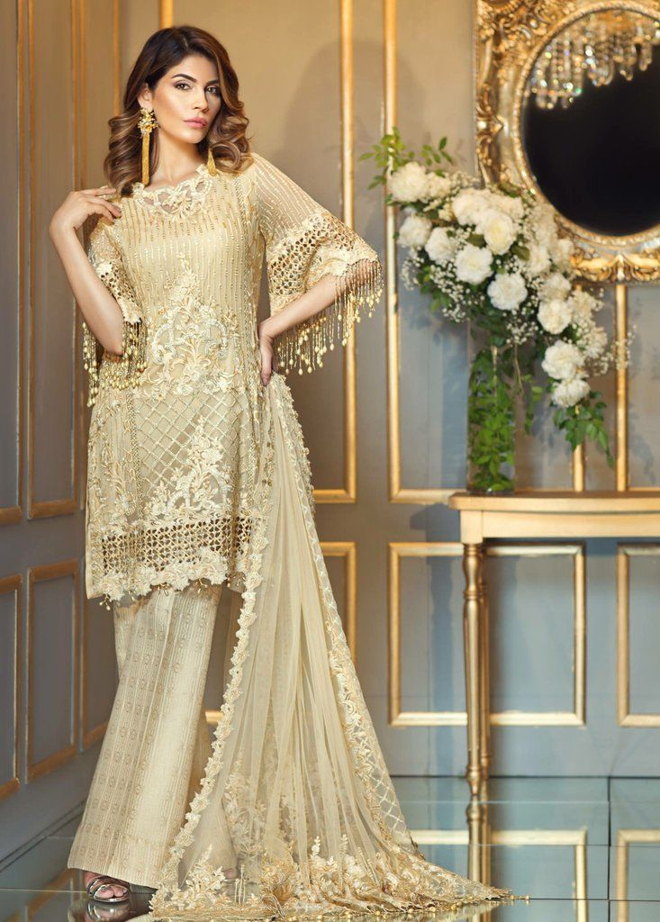 8953c2ecf7 Latest Pakistani Dresses - Chiffon Dress by Anaya in Skin Gold Color with  Threads Tilla Embroidery Online at Nameera by Farooq, Visit Now : www.