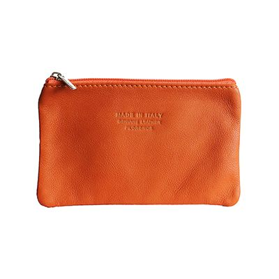 Martha Italian Orange Leather Cosmetic/Makeup Bag - £12.99