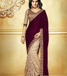 Buy magenta  and  cream plain georgette saree with blouse party-wear-saree online