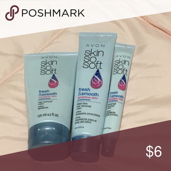 Avon sensitive skin and hair removal Three-piece set never used hair removal kit for sensitive skin includes 💕 4.2 oz hair removal cream🌹Bikini line hair removal cream 2.5oz❤facial hair removal cream 1oz Avon Makeup