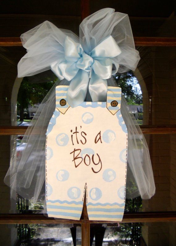 It's a Boy Door Hanger by BronwynHanahanArt on Etsy, $40.00