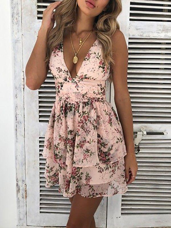 92e23a1ef02c0 Floral Deep V Layered Ruffles Mini Dress   Dresses in 2019   Dresses ...