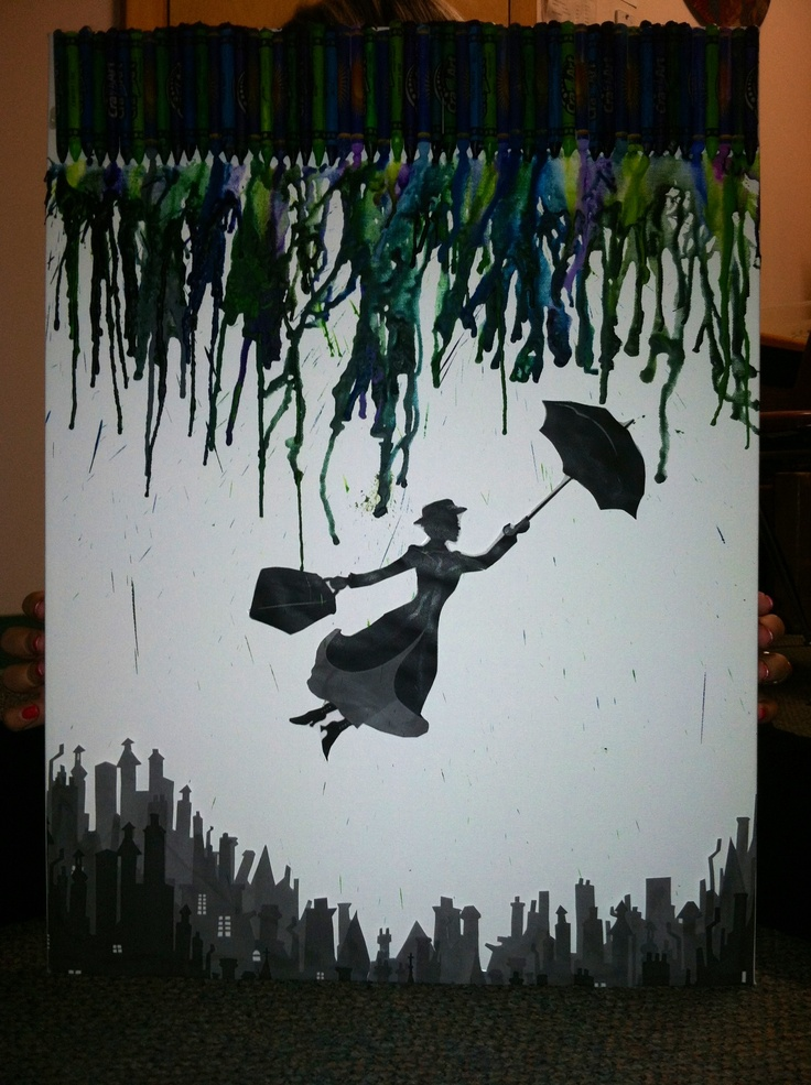 Melted crayon art.. Mary poppins