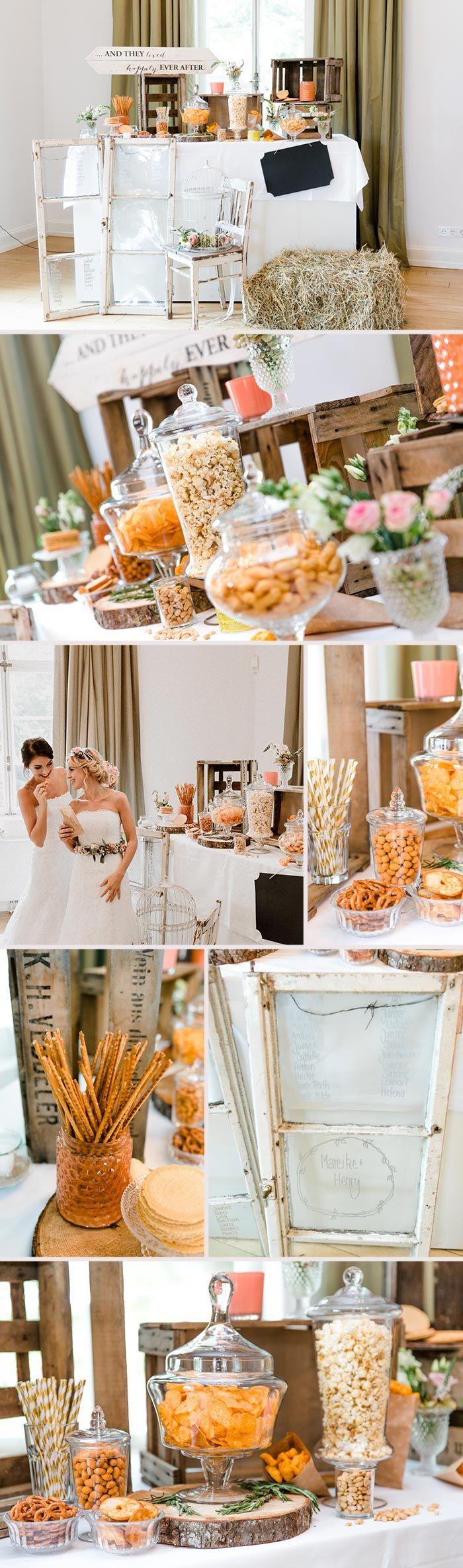 Die Salty Bar ist für alle die eher die Herzhaften statt die Süßen sind. Salzige Snacks lockern jede Party auf, warum dann nicht auch eure Hochzeitsfeier? I © Andreas Nusch Hochzeitsfotografie