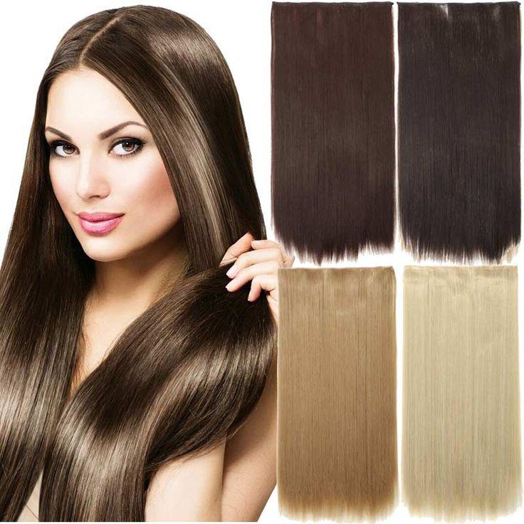 """24 """"Menerapkan Rambut Palsu Lurus Rambut Ekstensi Klip pada Hairpiece 5 Klip dalam Ekstensi Rambut Sintetis Palsu Hairpieces Blonde"""