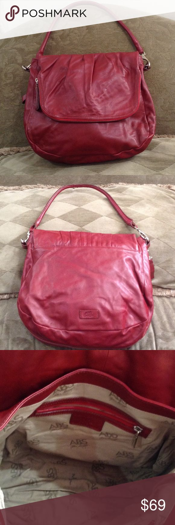 ABS Allen Schwartz  Red Leather Bag Beautiful soft red leather with tons of room. It even has a zipper that allows it to expand if needed. In wonderful condition ABS Allen Schwartz Bags Shoulder Bags