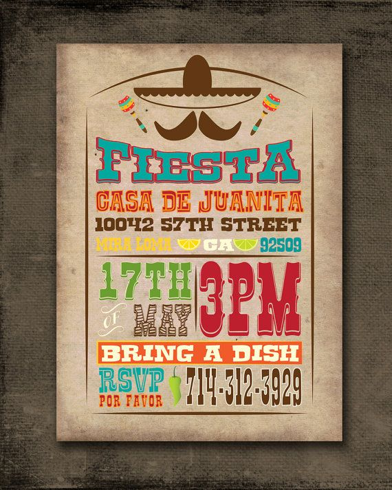 Mexican Fiesta Invitation Customized for You by JellyfishCreatives