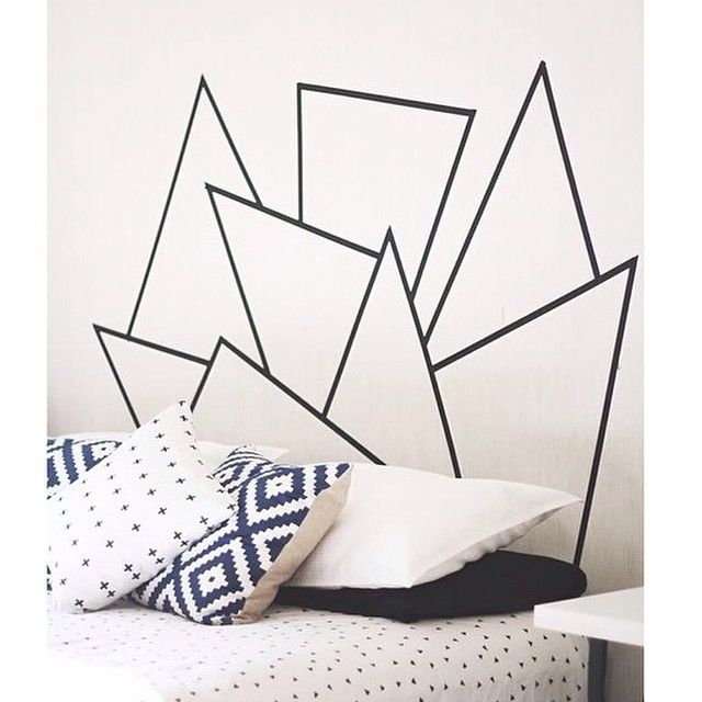 Headboard Idea! So Clever And Budget Friendly. Just Use Washi Tape Or Dark  Painteru0027s