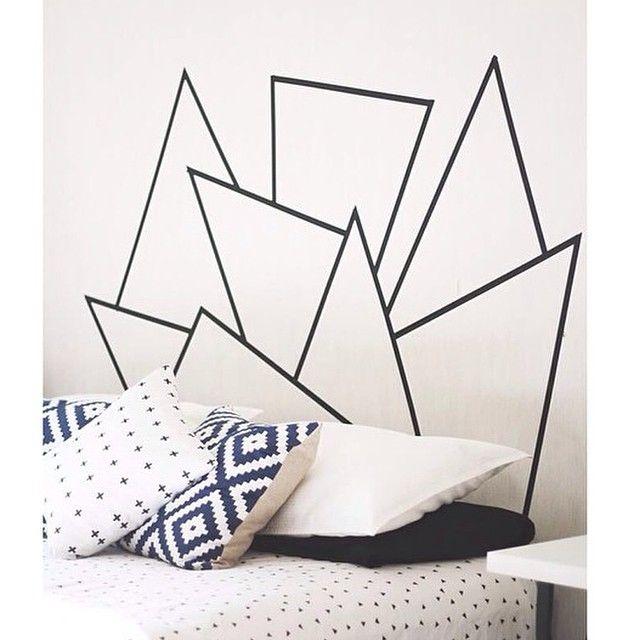 décoration tête de lit en masking tape