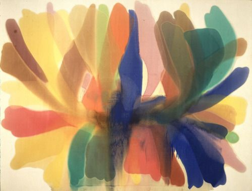 """Morris Louis, Point of Tranquility, acrylic on canvas, 1960 1 of 2 """"The more I paint the more I'm aware of a difference in my approach and others. Am distrustful of over-simplifications but nonetheless think that there is nothing very new in any period of art: what is true is that it is only something new for the painter & that this thin edge is what matters."""""""