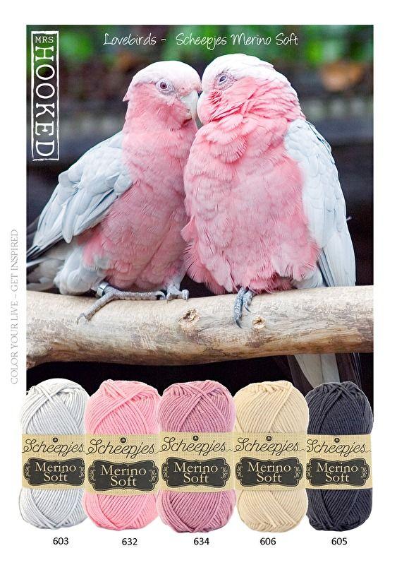 Kleurinspiratie Love birds / Scheepjes Merino Soft