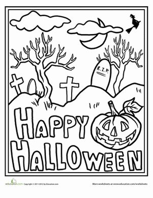 Holiday Worksheets And Coloring on scary graveyard scene