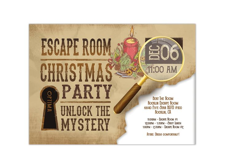 Holiday escape room invite printable digital pdf and for Escape game diy