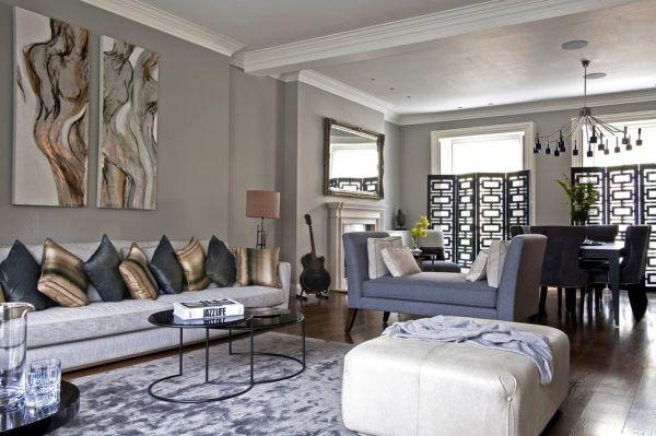 dekokissen ideen dunkle farben gold wohnzimmer Dekoration