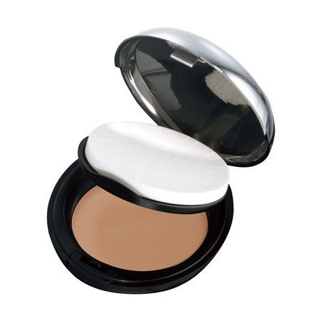 A foundation and powder in one neat compact. Use dry for a light matte finish or wet for high coverage. Perfect for on-the-go touch-ups. Matte finish. Velvety feel. No added fragrance. Includes sponge and mirror. Dermatologically tested