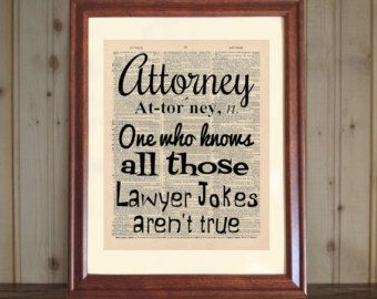 Attorney Dictionary Print Law Office Decor Lawyer by OldBookSmith