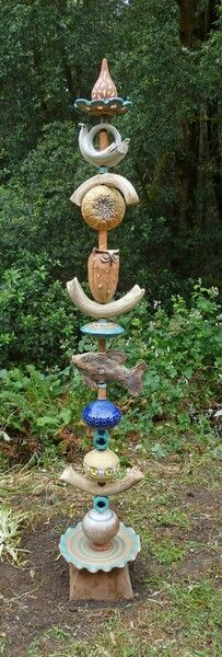 Large ceramic bead totem.