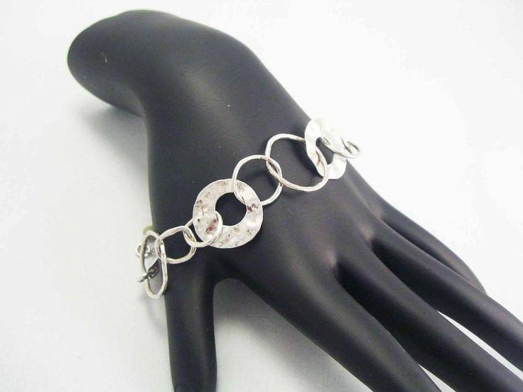 STERLING SILVER Designer Signed SILPADA Hammered Circle Link chain Bracelet 925