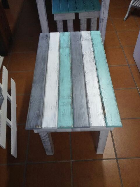 Coffee Table Rustic (Grey; White; Turquoise) (Made by: Shane Ikin)