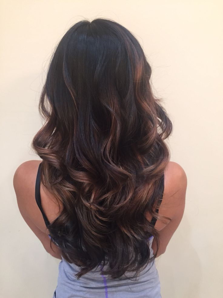 IG: hairbynickyz Dark hair black brown brunette balayage hand painted highlights caramel long hair layers and angles