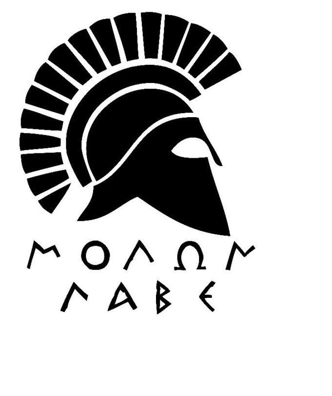 A personal favorite from my Etsy shop https://www.etsy.com/listing/472189884/molon-labe-decal