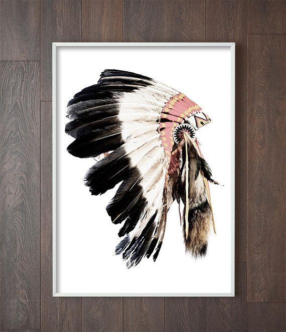 American Indian Headdress Print Native American Decor Tribal Boho Wall Art Bohemian Southwestern Decor Native American Decor Boho Wall Art Headdress Art