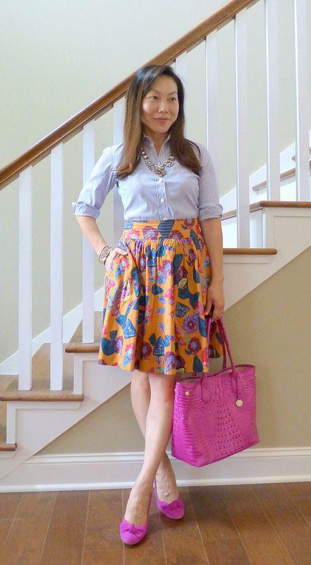 #jcrew shirt necklace #anthropologie skirt #guess heels #brahmin tote