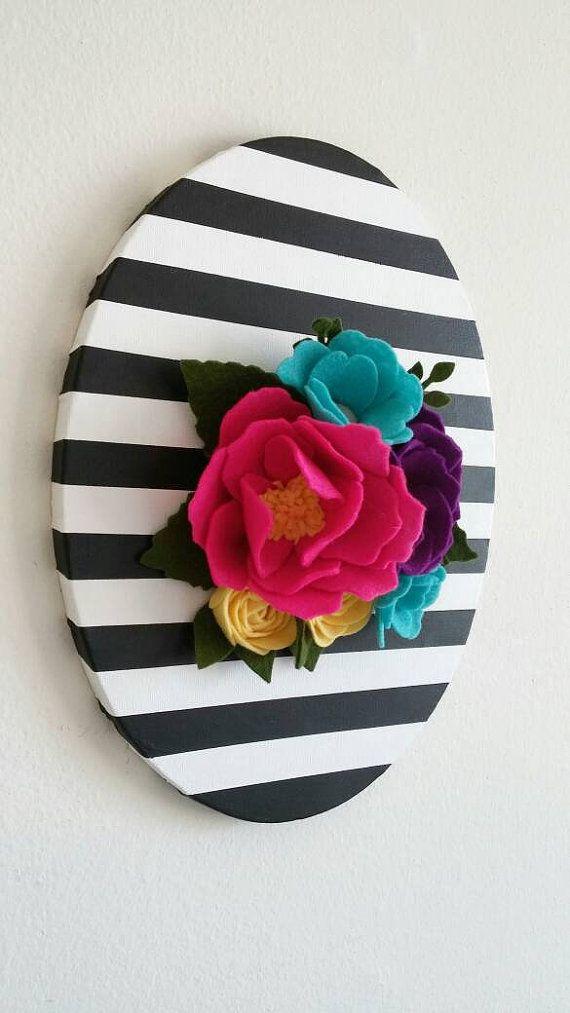 Pared 3D flores colgante de pared fieltro fieltro por thegreyrose