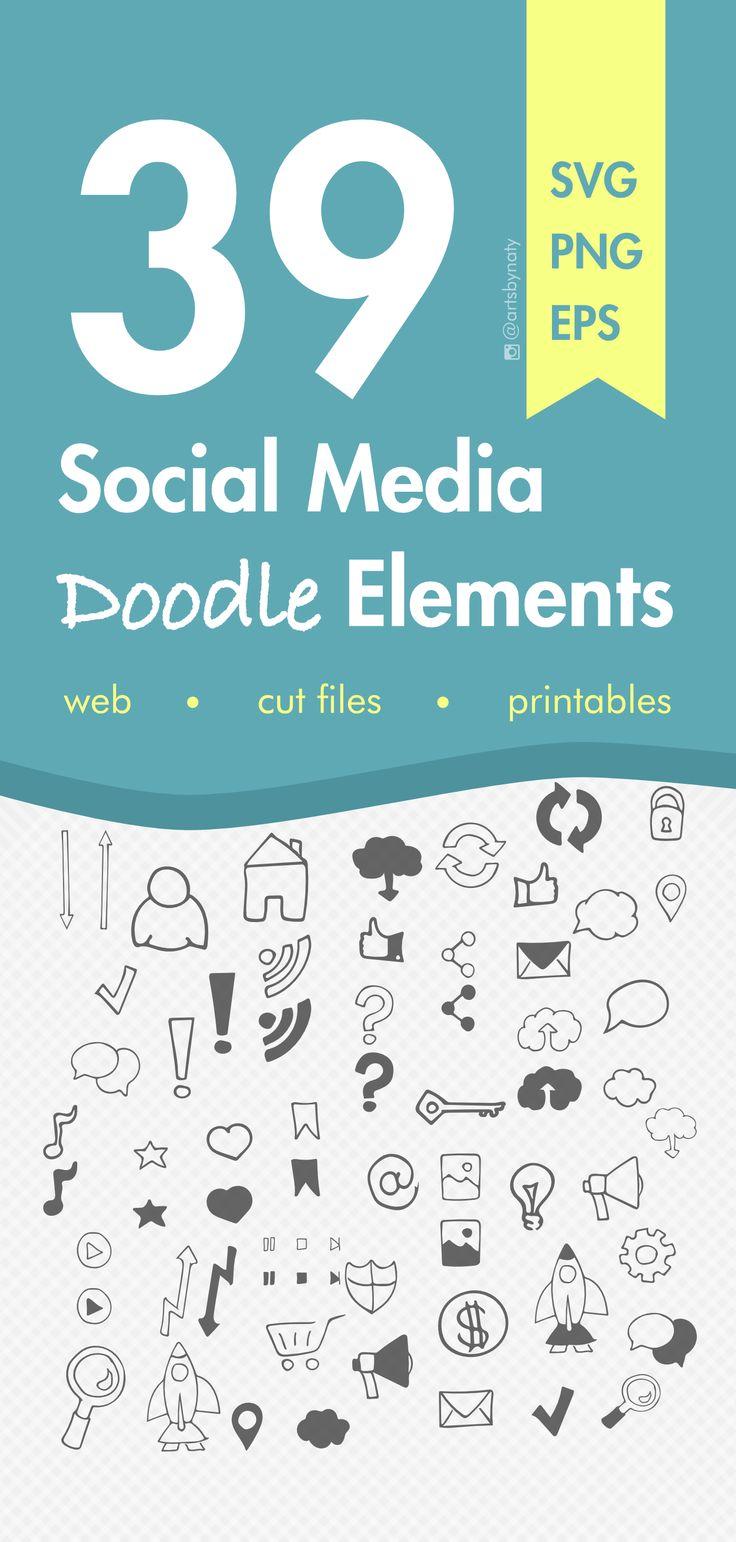 39 Social Media Doodle Elements. Line Art, Design, Set Artwork, Clip Art, Coloring, modern, technology, multimedia, smart devices elements