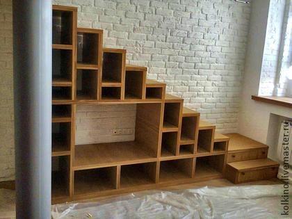 Лестница, книжная полка - рыжий,ручная работа,лестница,лестница-полка