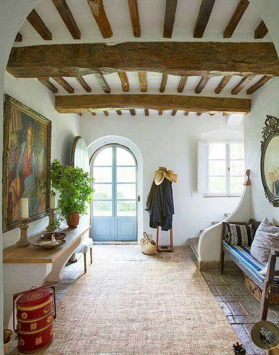 Entrance hall.  Love the exposed beams