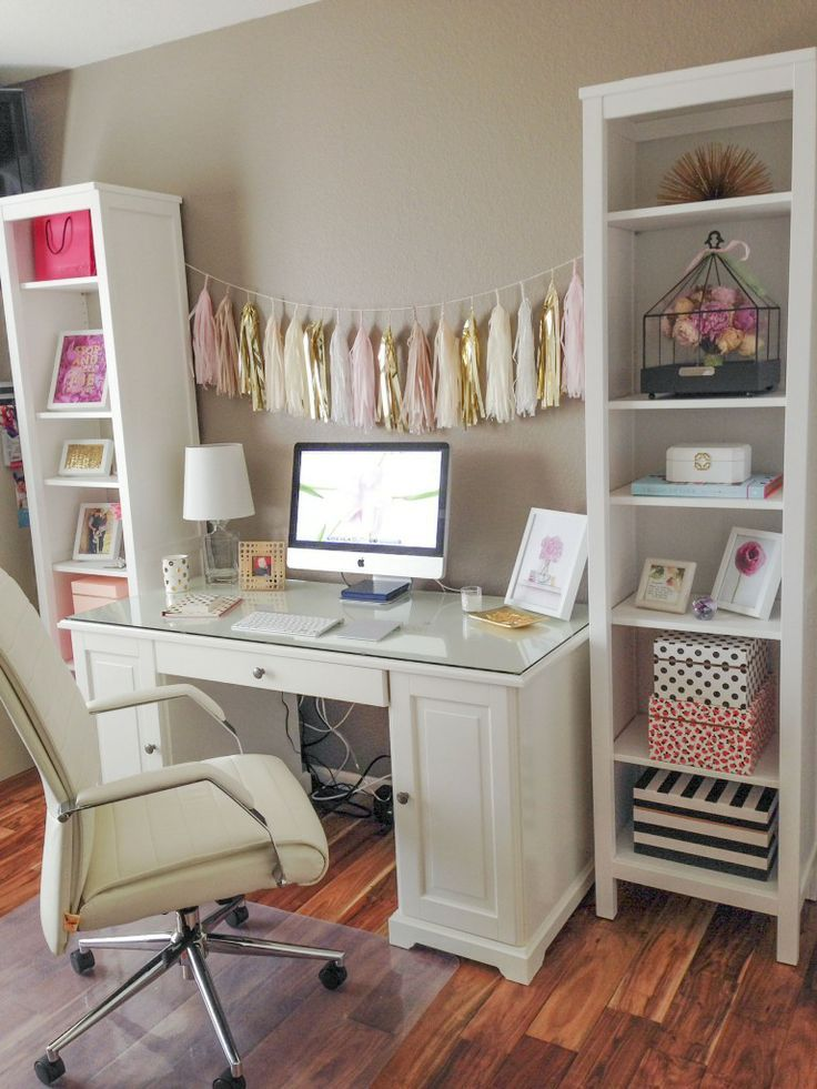 Bright, clean, white, organized office / workspace. I love the pops of pink and gold. What a pretty home office! Inspiration for the living room cubby decor?