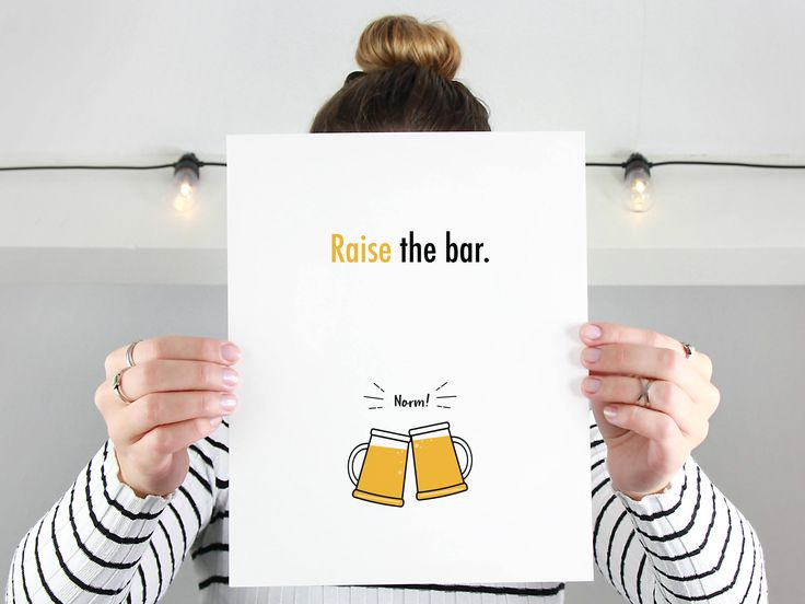 Cheers and Beers Raise the Bar Cart Art | Beer Lover Gift for Boyfriend | Dorm Decor Wall Art Go Beyond Limits Motivational Quote Art Print by IntrovertInkStudio on Etsy