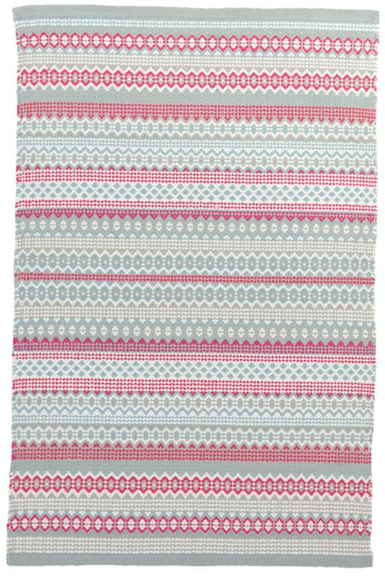 The fresh and fun pink fuchsia and sky blue fiesta striped design of this indoor/outdoor rug makes it a fresh and welcoming addition to any indoor or outdoor space,