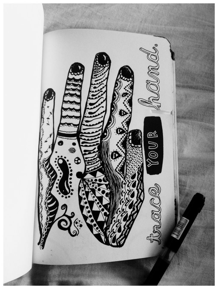 Wreck this journal ideas. I would use a different handshape but I like the idea of doodling