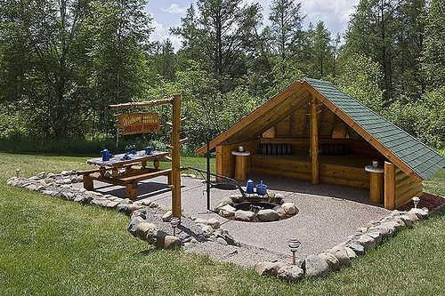 Exterior Horizontal Campfire Area With Shelter And
