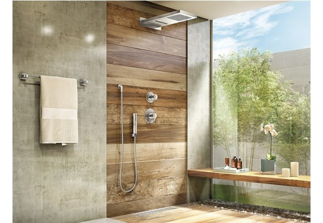 Like this bathroom and mixture of glass, tiles and wood