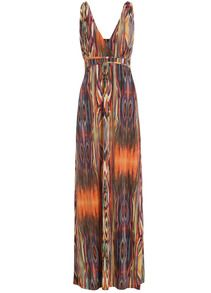 Deep V Neck Vertical Striped Maxi Dress